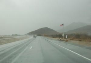 wet road, am. flag